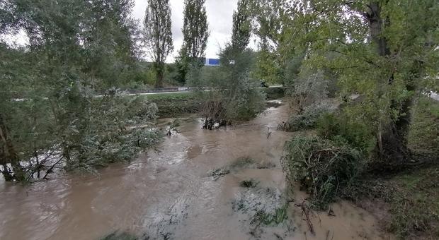 il fiume Rapido a Cassino ingrossato dalle piogge
