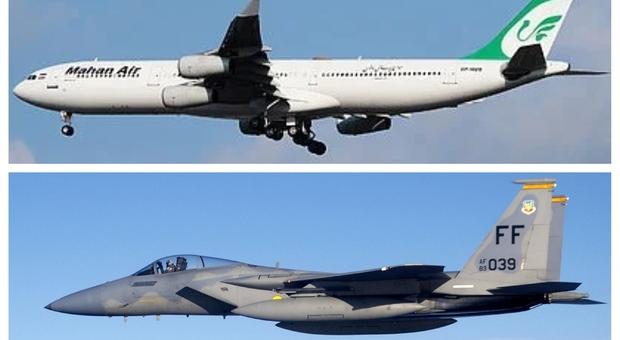 Caccia F15 Usa spaventa aereo di linea iraniano: passeggeri feriti. Gli Stati Uniti: «Nessuna manovra a rischio» Mappa