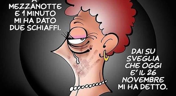 Vignetta di Vanessi per Sputnink omaggio al Messaggero in occasione del 25 Novembre 2020