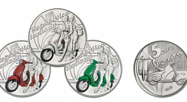 Arriva la moneta da 5 euro Dedicata alla Vespa. Emessa da oggi in tre colori