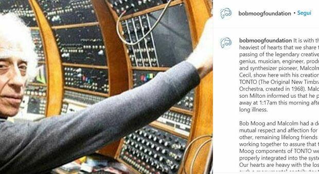 Morto il creatore del sintetizzatore Malcolm Cecil