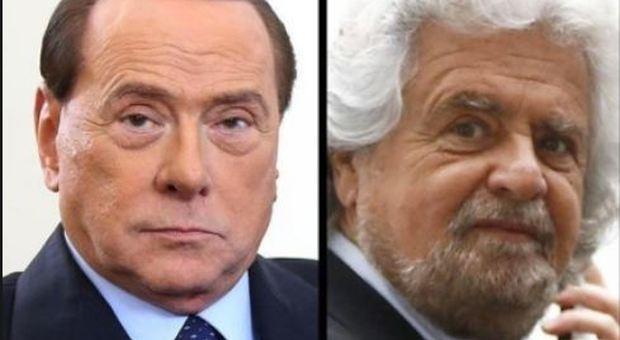 Grillo contro Berlusconi: «Un ex badante triste, si agita per stare a galla»