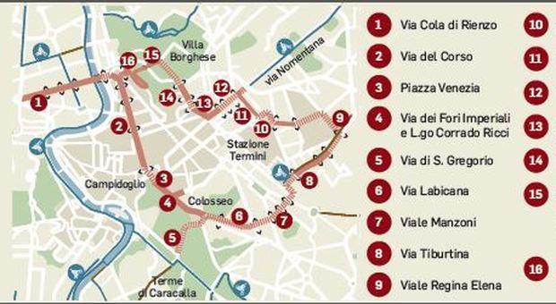 Cartina Roma Termini.Roma Stop Auto Da Prati A Termini Via Libera Per Bici E Runner La Mappa