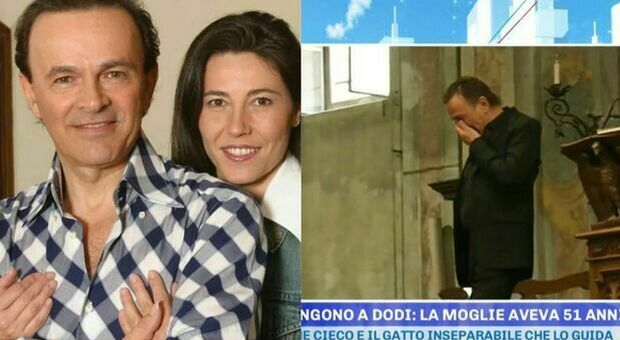 Dodi Battaglia in lacrime al funerale della moglie Paola: «Ho passato gli ultimi giorni abbracciato a lei, chiedendole perdono»