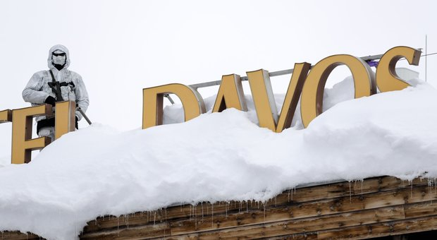 Forze di sicurezza al meeting del World Economic Forum, di Davos in Svizzera