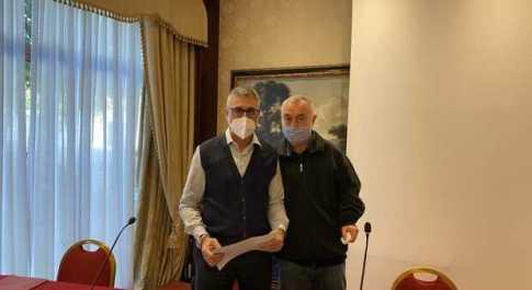 Roberto Pietropaoli col presidente della Lnp Basciano