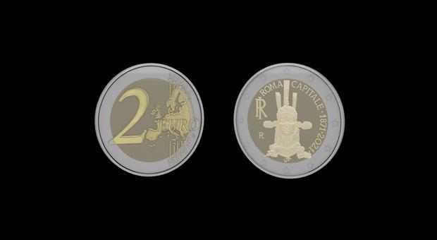 La moneta da due euro dedicata ai 150 anni di Roma Capitale d'Italia