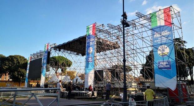Centrodestra in piazza sabato con simboli della Lega, tensione con Fdi