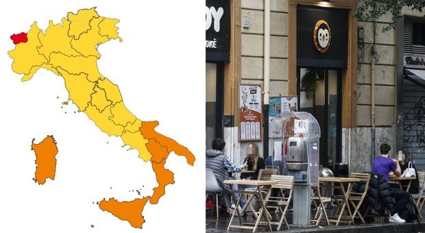 Colore regioni, zona gialla (al Centro-Nord) e arancione (al Sud): cosa si può fare da oggi