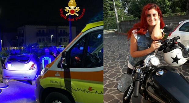 Lo scontro all'incrocio e Giulia Segato in una foto da Facebook