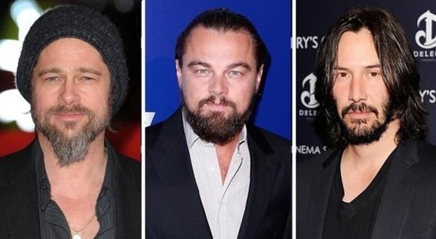 Brad Pitt, Leonardo DiCaprio e Keanu Reeves con la barba