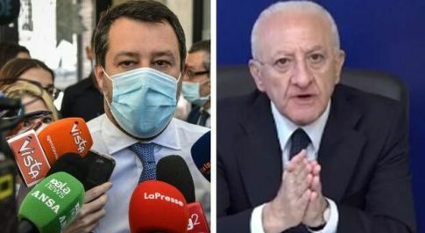 Salvini: «De Luca impone mascherine, lo segnalerò a Draghi»
