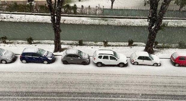 Udine, nevicata violenta e improvvisa: città imbiancate, danni a campi e auto