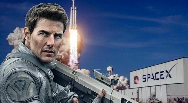Tom Cruise con un razzo di SpaceX