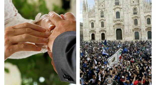 Matrimoni ed eventi ancora vietati, intanto a piazza Duomo si festeggia l'Inter: «Quello non è assembramento?». La polemica social