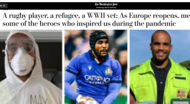 Rugby, l'azzurro e cavaliere Maxime Mbandà per il Washington Post è fra gli eroi europei della lotta al Covid Video
