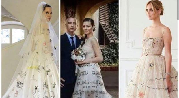 53034b5675 Chiara Ferragni, uno degli abiti delle nozze ricorda quelli della moglie di  Eros Ramazzotti e di Angelina Jolie