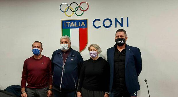 Da sinistra Mauro Bruno, Lauro Palmisano, Stefania Mancini e Claudio Sabatini