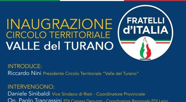 Nasce il circolo di Fratelli d'Italia nella Valle del Turano