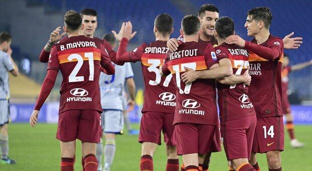 Roma-Verona 3-1: tre gol nel primo tempo decidono la partita. Fonseca resta al terzo posto