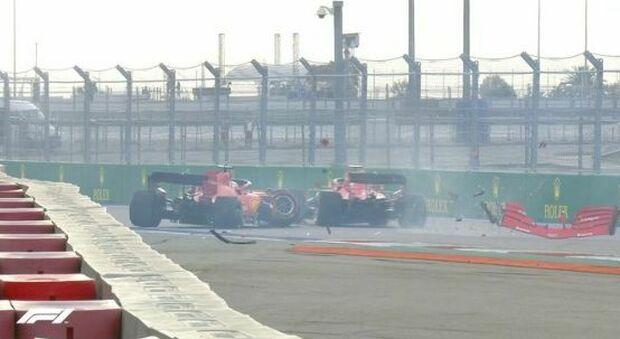 Incidente per Vettel: illeso, Ferrari distrutta. Leclerc lo evita per un soffio