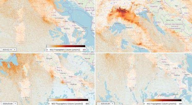 Coronavirus, cala lo smog sul nord Italia: il satellite mostra le immagini