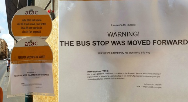 Credenza Da Cucina Traduzione : Roma sulla palina del bus non cè la traduzione in inglese ci