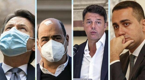 Crisi governo, ecco le strategie di Giuseppe Conte, Matteo Renzi, Nicola Zingaretti e Luigi Di Maio