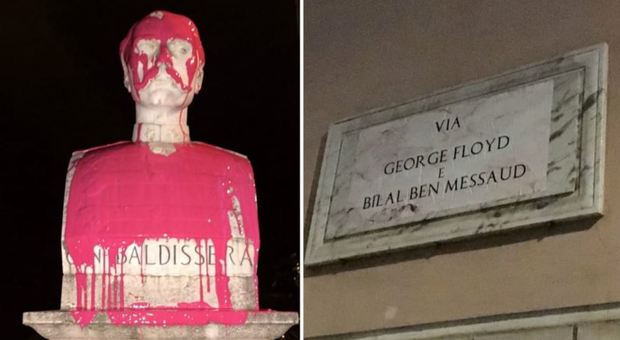 Roma, raid notturno: le vie diventano George Floyd, statue imbrattate. Indaga la Digos