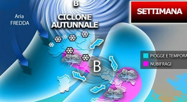 Meteo, arriva il ciclone autunnale: da mercoledì gelate e nubifragi