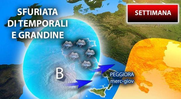 Maltempo in arrivo: temporali su gran parte dell'Italia, allerta arancione in Basilicata: previsioni fino a giovedì