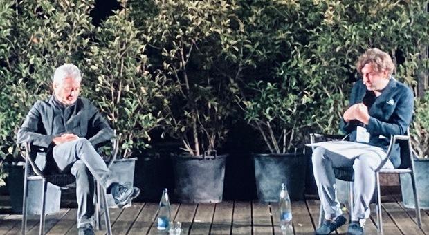 Baricco e Zepparelli durante l'incontro a Carsulae