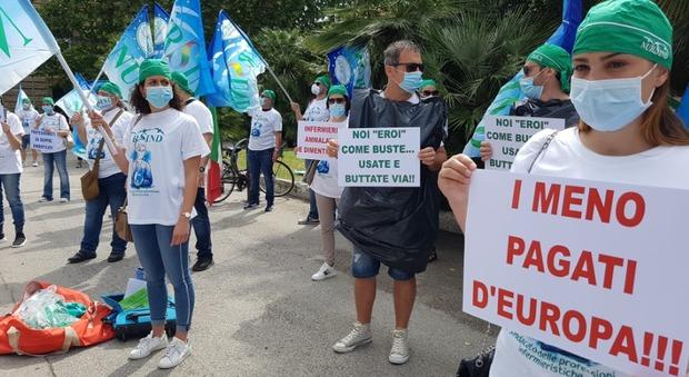 La manifestazione degli infermieri sotto l'Assessorato regionale alla Sanità a Pescara