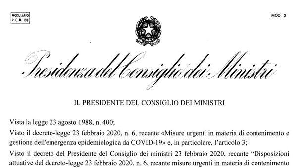 Dpcm, il decreto del Presidente del Consiglio dei ministri
