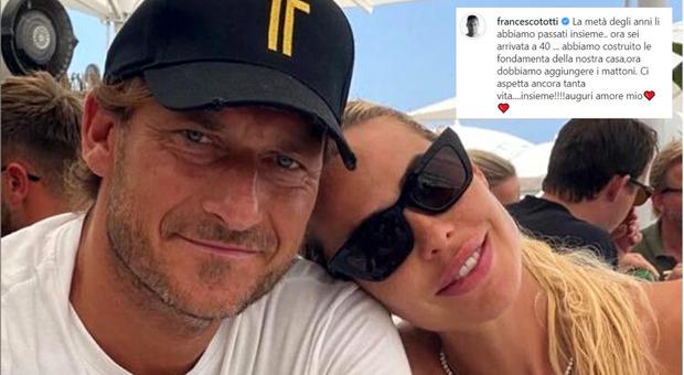 Francesco Totti, la dedica a Ilary Blasi per i suoi 40 anni: «La metà li abbiamo passati insieme»