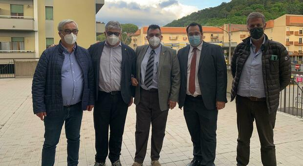 Da sinistra Paolo Mattei, Umbeto Fusco, Maurizio Ramacogi e il sottosegretario Claudio Durigon