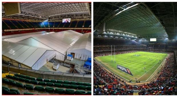 Coronavirus, nel gigantesco stadio di rugby di Cardiff il più grande ospedale per i malati di Covid-19 del Regno Unito La trasformazione e quel tetto chiuso