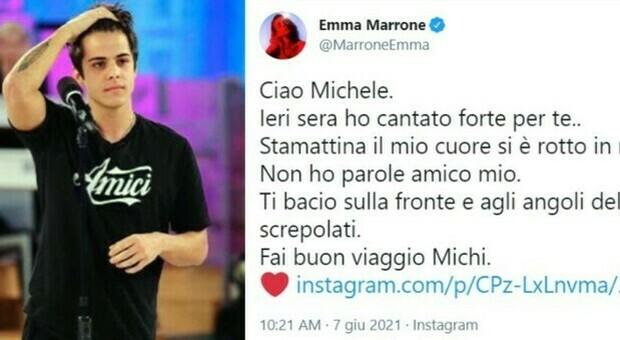 Michele Merlo, l'addio sui social da Emma a Ermal Meta: «Fai buon viaggio Michi»