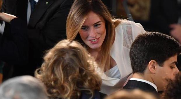 Maria Elena Boschi al party esclusivo del FuoriSalone accompagnata dall'attore Berruti: