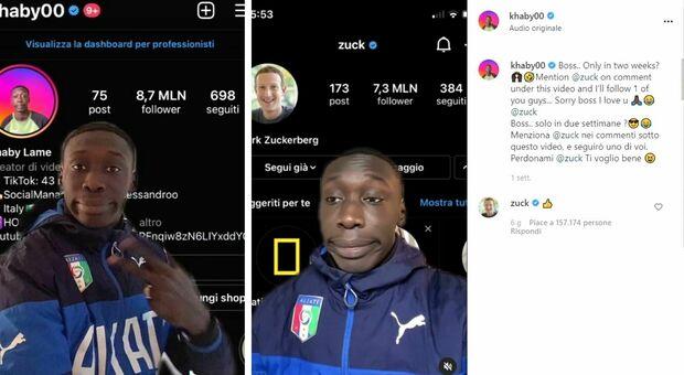 Khaby, tiktoker torinese sfida e supera Mark Zuckerberg in numero di follower: il boss di Facebook risponde al suo video