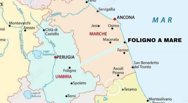 Cartina Politica Umbria E Marche.Emergenza Covid 19 Da Foligno Niente Vacanze A Civitanova Marche E C E Chi Ne Propone L Annessione Per Far Nascere Foligno A Mare
