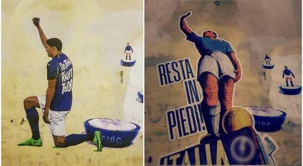 Roma, imbrattato da CasaPound il murale pro Black Lives Matter degli Azzurri in ginocchio: «Resta in piedi»