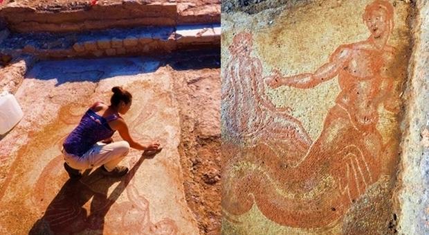 Dalla domus romana di Trevi affiora un mosaico monumentale: «Potrebbe essere la nascita di Venere»