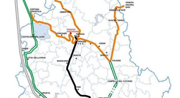 La cartina delle ferrovie umbre elaborata da Emanuele Pettini, informatico AUR