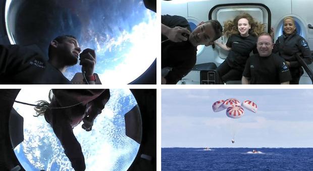 Turismo spaziale, Inspiration4 diretta: nella notte rientrati i primi 4 privati in orbita Guarda lo splashdown