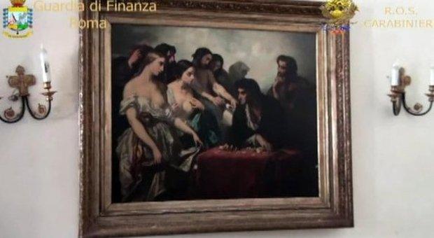 Una delle opere d'arte sequestrate a casa di Diotallevi