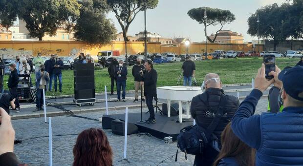 Antonello Venditti prova il suo video-concerto in Piazza San Giovanni
