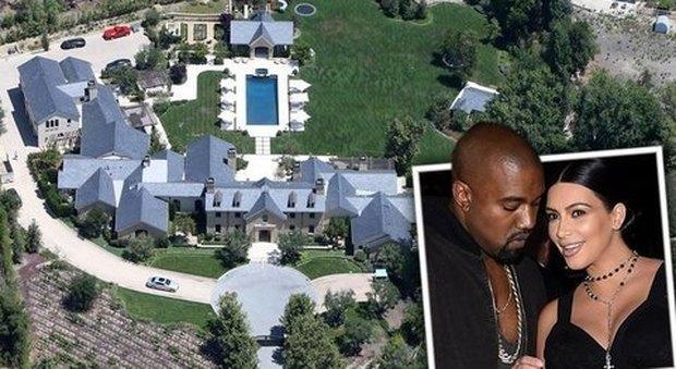 Kanye West-Kim Kardashian, ritocchino (da 8 milioni di dollari) alla villa di Hidden Hills