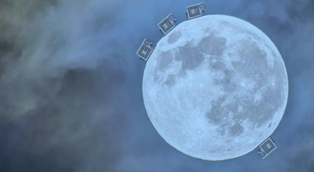 (Un immagine ad alta risoluzione della Luna con la simulazione dei quattro sismometri LGWA. Credits: Joris van Heijningen (UCLouvain)