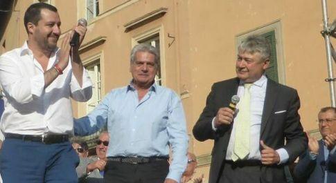 Matteo Salvini a Viterbo con Arena e Fusco (a des.)